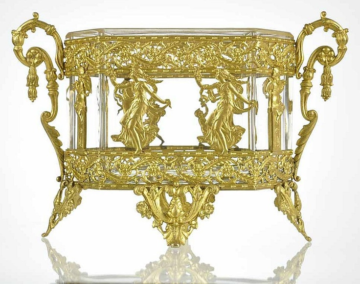 Antique French Empire Gilt Bronze Ormolu Crystal Jardiniere  c. 19th Century