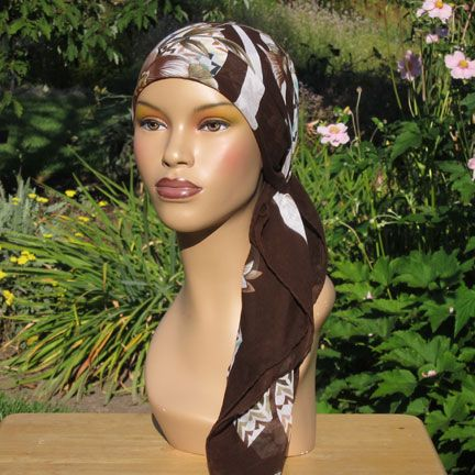 """Mediterranean Cotton Headscarf  224 Ultra soft, light-weight cotton, similar to a fine hankie. Allows your scalp to breathe and stays securely tied, even on a bald head. 40"""" x 40"""". 100% cotton. Hand-made in Turkey."""