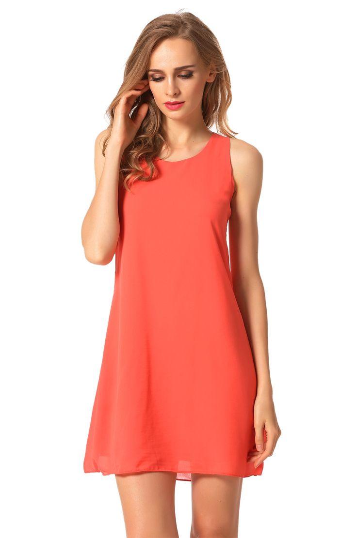 Orange New Stylish Lady Women's Fashion Sleeveless Crew Neck Sexy Chiffon Going Out Casual Dresses
