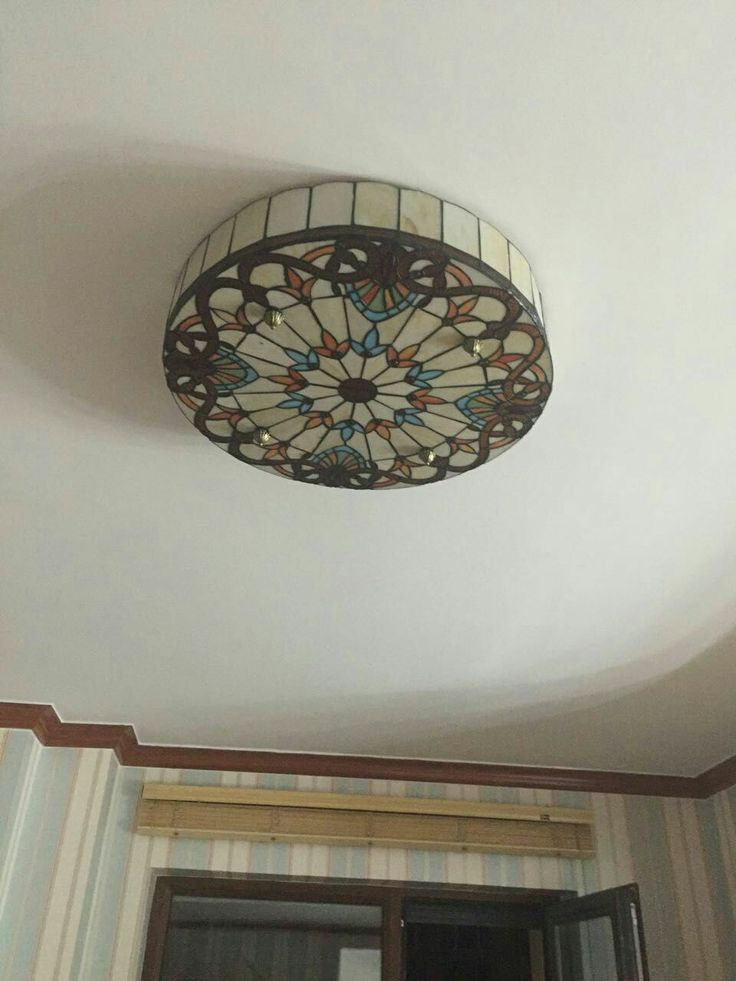 Baroque Tiffany Flush Mount Ceiling Light E27 Screw Base