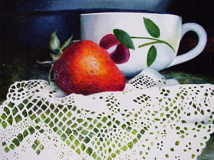 Lace Strawberry and Cup j huey oil on gessoed masonite