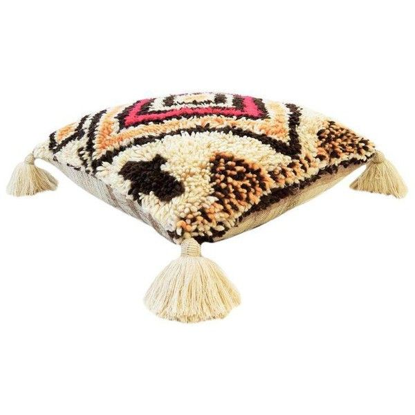 Vintage Moroccan Wool Pouf ($695) ❤ liked on Polyvore featuring home, furniture, ottomans, pillows, kilim furniture, kilim footstool, kilim ottoman and wool ottoman