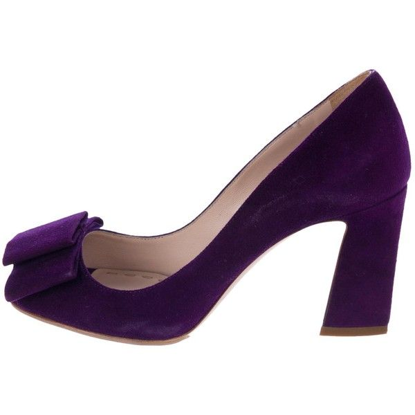 Purple suede Miu Miu pumps with peep toes, bow accent at tops and covered heels.