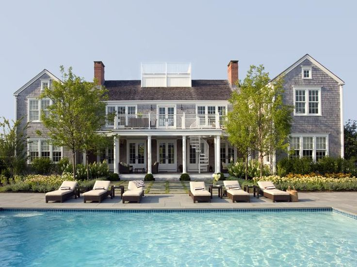 Rear elevation and pool of a new build home in Shawkemo, Nantucket.East Coast, Hampton Style, Dreams Home, Beach House, Hampton House, Dreams House, Vacations House, Beachhouse, Nantucket Style
