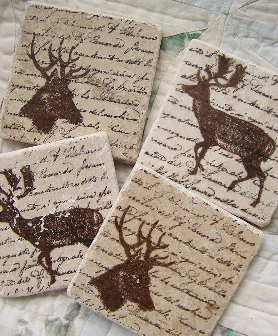 Natural Stone Coasters Woodland Deer Coasters Tile by QueenBe, $18.00