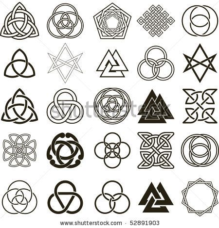 Trinity Tattoo Designs | Set of symbols icons vector. Tattoo design set. - stock vector