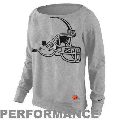Nike Cleveland Browns Ladies Wildcard Epic Crew Performance Sweatshirt - Ash