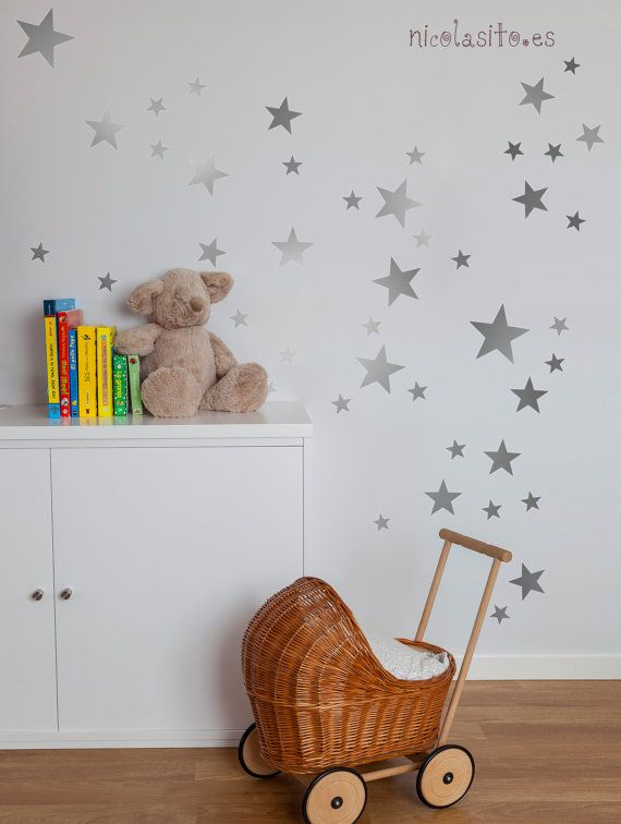 Lovely Silver Stars Wall Decal Vinyl Sticker. Looks great everywhere, on kids room, playrooms, and also, applied to furnitures. With our decorative