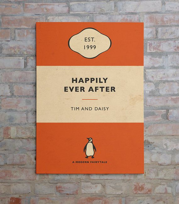 Penguin Book Cover canvas  Personalised by BokaPrint on Etsy