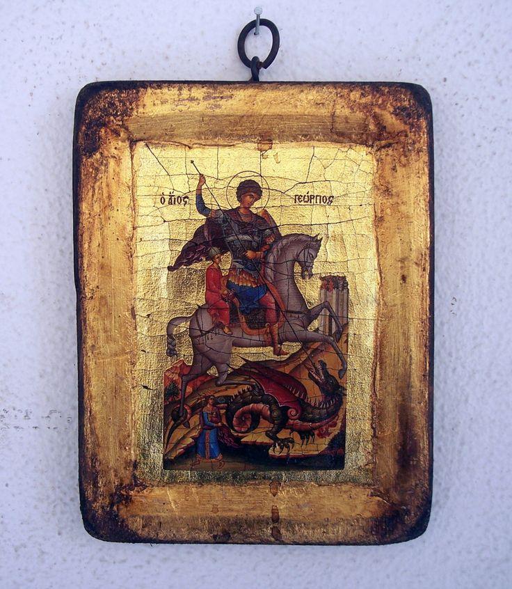 Orthodox greek religious icon with mount Athos style, vintage and byzantine style with Saint George by GardenOfLinda on Etsy