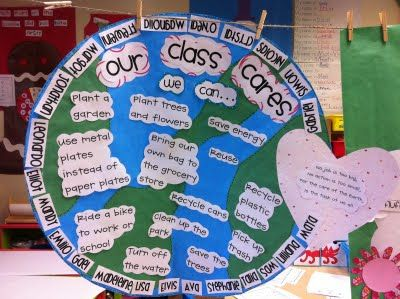 """Earth Day """"Our Class Cares""""   Poem:  """"No job is too big,  No action is too small,  For the care of the Earth,  Is the task of us all."""""""
