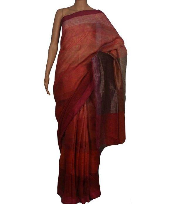 Pastel Handloom Bhagalpur Linen Silk Saree