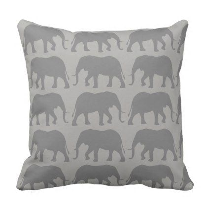 African Elephant Silhouettes Pattern Throw Pillow - decor gifts diy home & living cyo giftidea