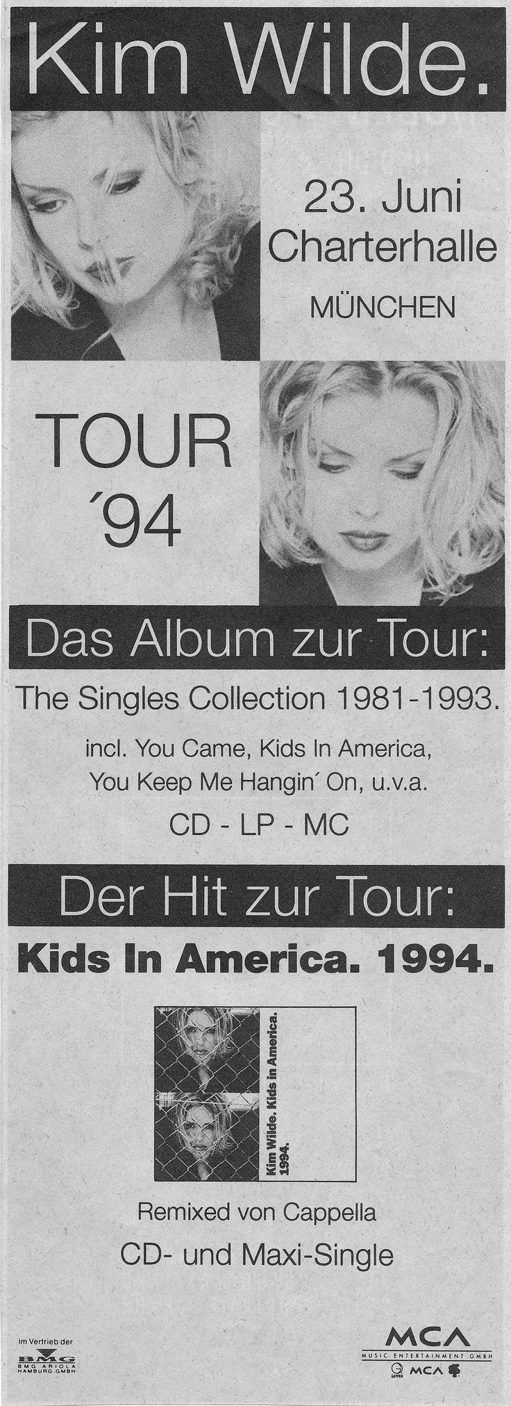 German advert for 'The Singles Collection 1981-1993', 1994.