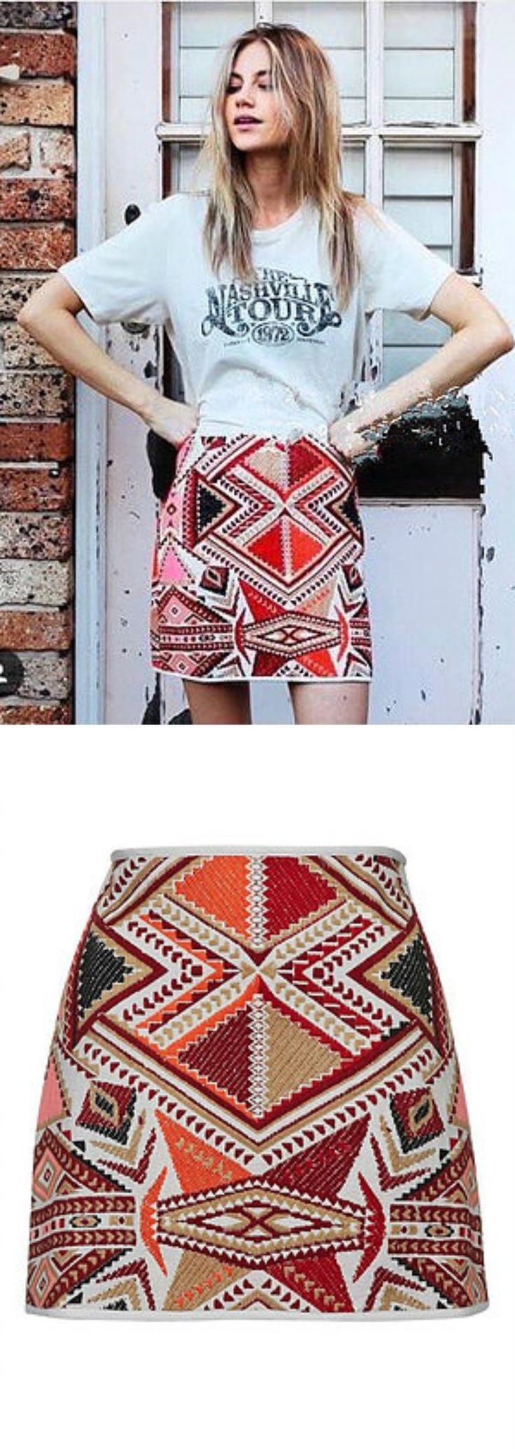 $39 - Boho Tapestry Skirt is Available at Pasaboho * this skirt exhibits brilliant colours with unique tribal patterns.