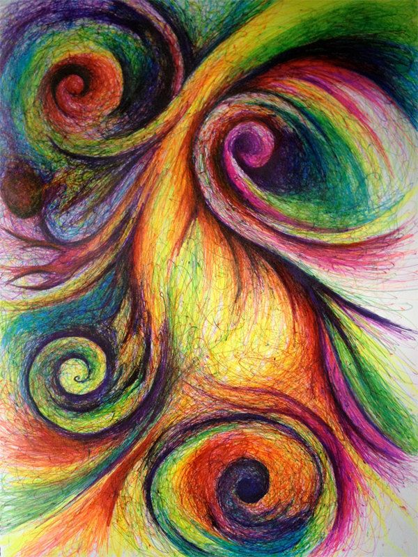 Colorful Abstract with Swirls - Original Drawing.