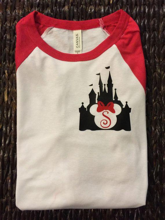 Free Shipping!! Disney Castle Minnie Mouse Raglan Shirt/ Disney Womens Shirts / Disneyworld shirt/Disney Monogram