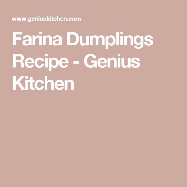 Farina Dumplings Recipe - Genius Kitchen