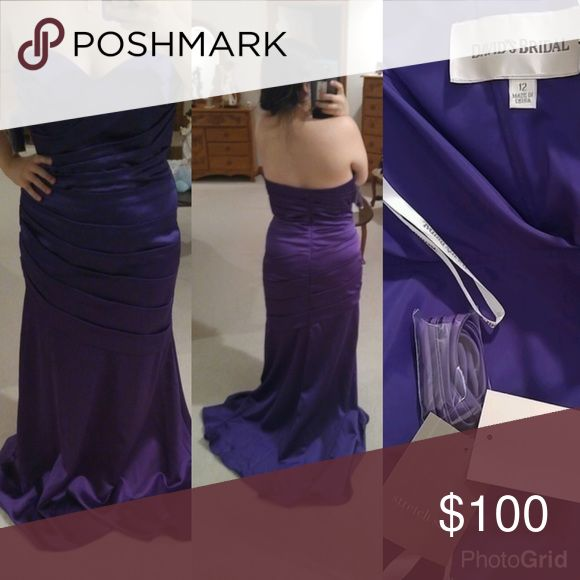 Deep Purple Formal Dress 🎀 never worn, never altered. It's a deep purple color, but my old phone camera couldn't capture the color right. Dress does come packaged in a transparent dress bag. David's Bridal Dresses Prom