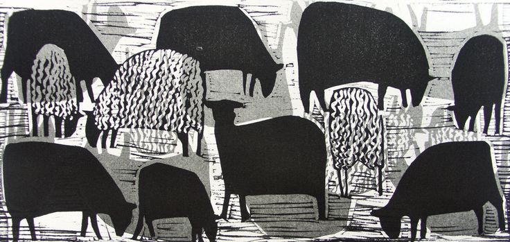 'Flock' by English artist Hannah Hann (b.1963). Linocut. Uploaded to Pinterest by the artist