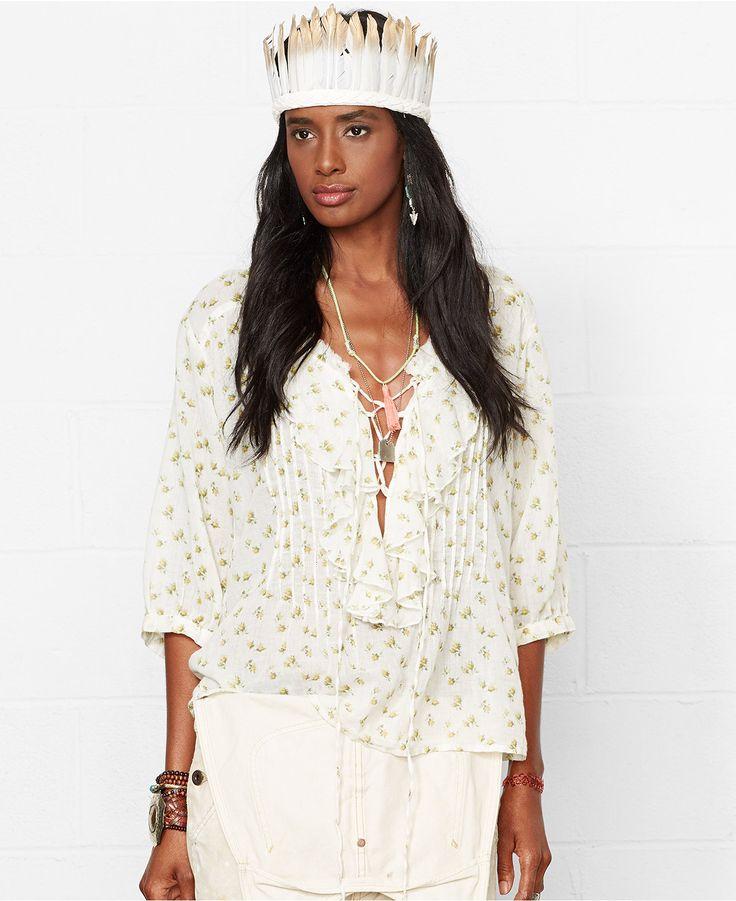 Denim & Supply Ralph Lauren Floral-Print Lace-Up Top - Denim & Supply Tops & Sweaters - Women - Macy's