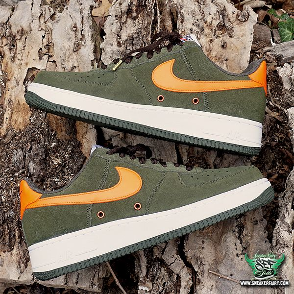 purchase cheap 82613 48e2a sneaker fairy fetti dbiasi custom sneakers nike air force one af1 olive  green suede safety orange