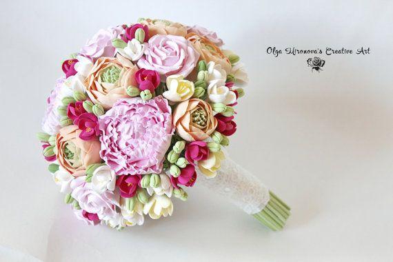 Bridal bouquet Wedding bouquet Fuchsia Pink Peach Rose Peony bouquet Big bridal bouquet Keepsake bouquet Bright bouquet Handmade