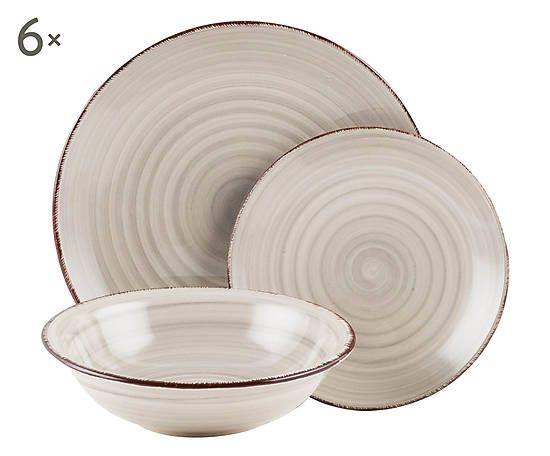 Servizio di piatti in gres grigio baita 18 pz - Servizio di piatti ikea ...