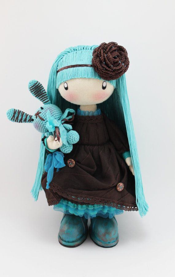 Doll Mimi brown and turquoise rag doll