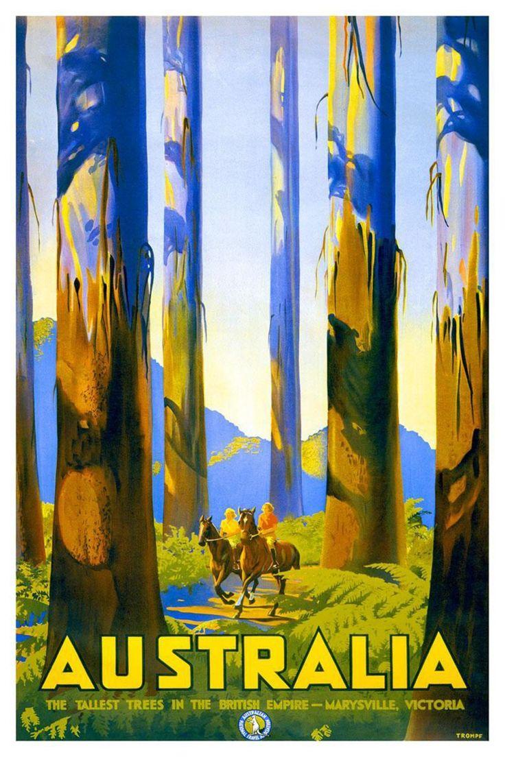 Australia travel poster  horseback riding
