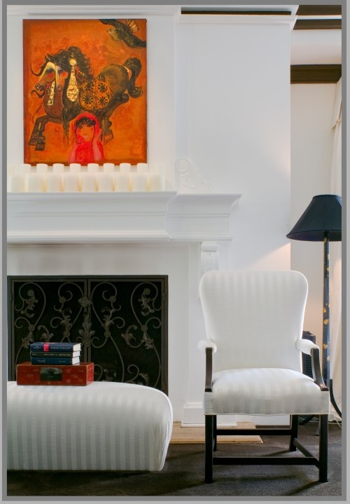 Delicious room:  white on white w/pop of orange + black : Ally Acid, Fireplaces Design, Fireplaces Mantels, Doors Design, Traditional Bedrooms, The Angel, Fireplaces Screens, Fireplaces Surroundings, Candles Arrangements