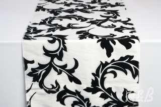 Black and White Damask Table Runner