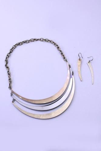 Gold Pewter Antiqued High Polish Crescent Necklace Set