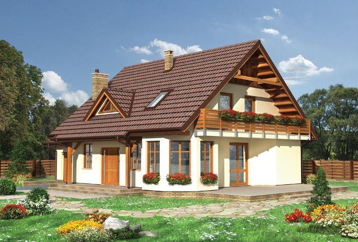 Projekt domu Maja - prosty energooszczędny dom na planie prostokąta szkielet drewniany prefabryk. - Archeton.pl
