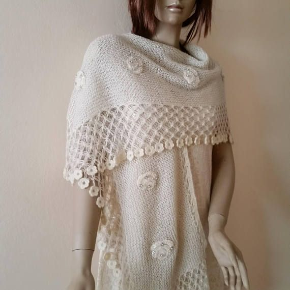 Ivory Wedding Shawl Triangular Knit Shawl Bridal Shawl