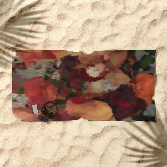 Autumn mosaics watercolor 2484 beach towel by Khoncepts
