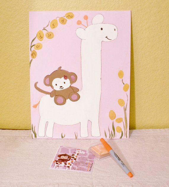 Giraffe and Monkey Cocalo Jacana Baby Shower Fingerprint Guestbook Keepsake