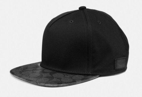 0db881c3838 Coach F86476 Mens Flat Brim Signature PVC Charcoal Black Hat Cap  85 (eBay  Link)