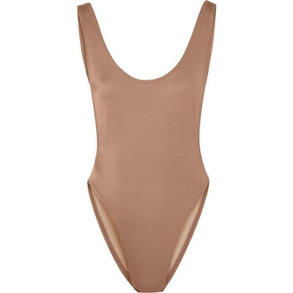 Norma KamaliMarissa Swimsuit (1.875.390 IDR) ❤ liked on Polyvore featuring swimwear, one-piece swimsuits, scoop back swimsuit, swimsuit swimwear, swimming bathing suit, norma kamali swimwear and low-back one-piece swimsuits