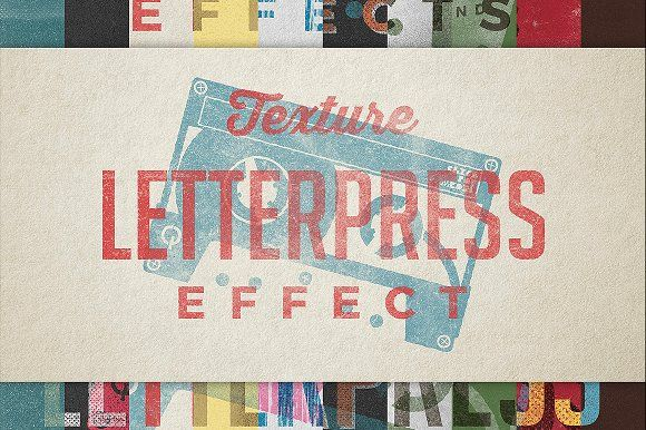Vintage Letterpress Texture Effects by Zeppelin Graphics on @creativemarket
