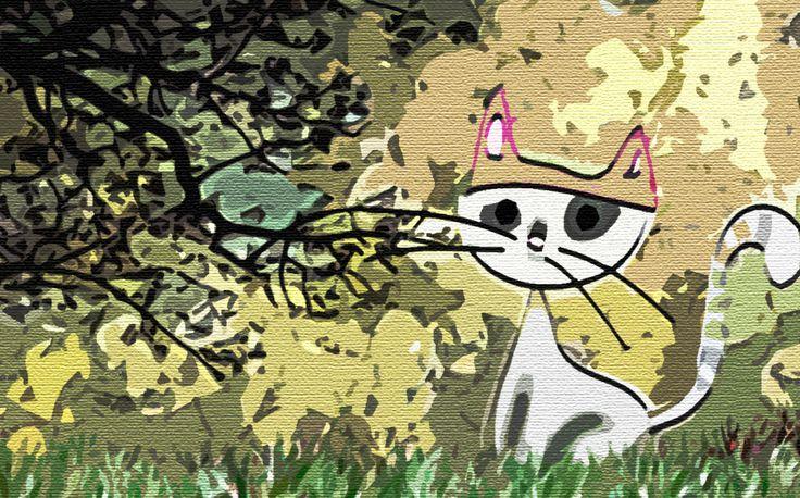 Gato con gorro en otoño