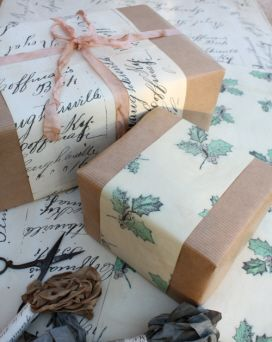 Nice way to use brown paper for the bulk of the wrapping and then just accent strips to add colour and appeal.