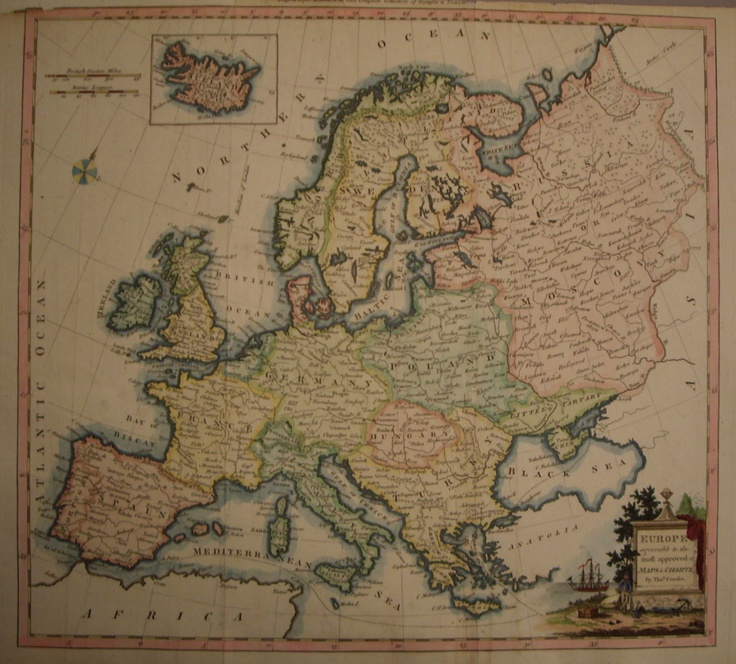 Copper plate map of Europe c1790 by