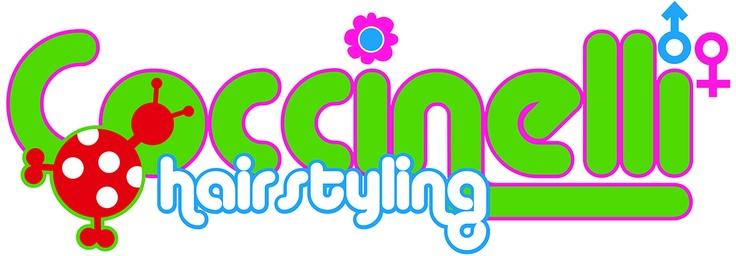 """Restyle logo Coccinelli. """"Coccinelli is een gezellige kapsalon gespecialiseerd in het knippen van kinderen maar wij zetten ook professioneel de schaar in het haar van dames en heren."""""""