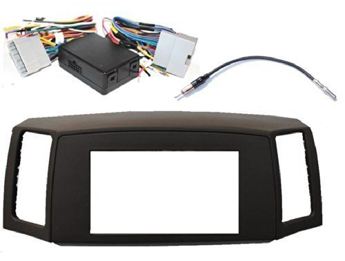 Jeep Grand Cherokee 2005-2007 Double Din Navigation Radio Bezel Dash Install Kit with Premium Wiring Harness with and Antenna Adapter - KHAKI