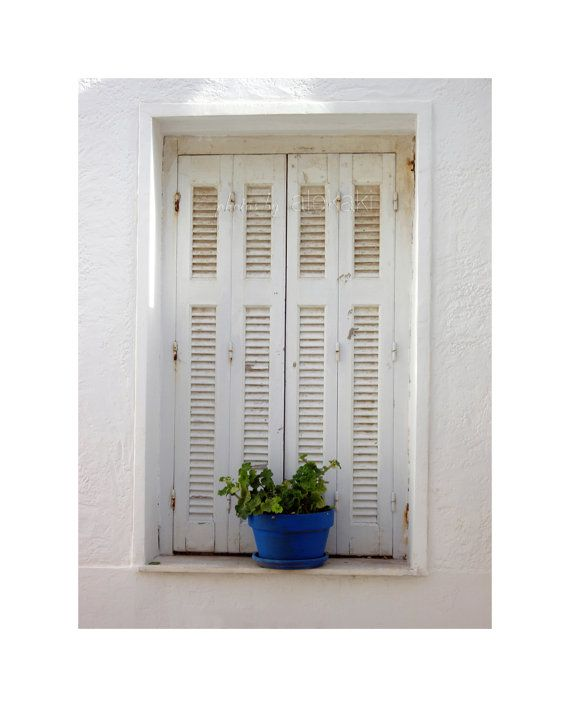 The window - white shutters - Greek islands photo - travel photography - Mediterranean decor
