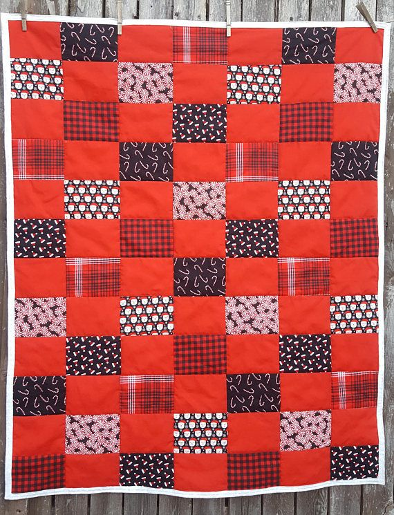 Red and Black Christmas Quilt  Crib Quilt  Toddler Bed Quilt