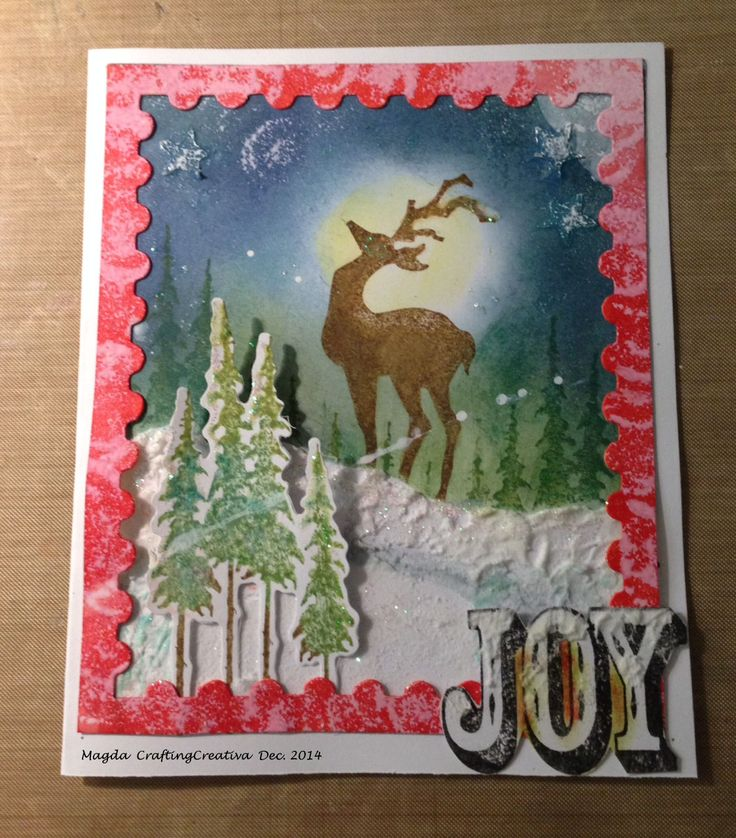 Christmas Card with Distress Ink Pad and Tim Holtz's dies