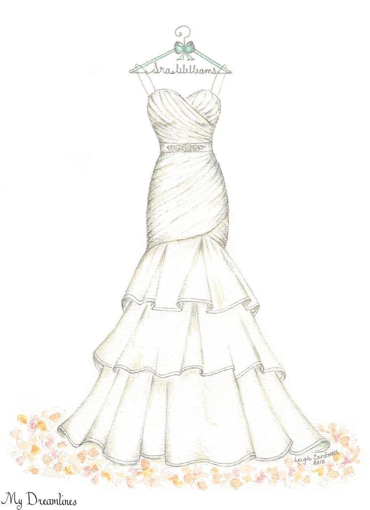 Dreamlines Wedding Dress Sketch #oneyearanniversarygift #anniversarygift #weddinggift www.MyDreamlines.com