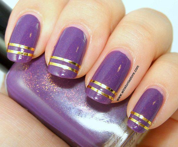 Uñas elegantes moradas con dorado - Violet and golden nails